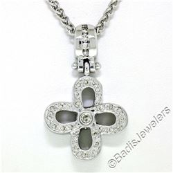 14kt White Gold 0.44 ctw Diamond Open Flower Pendant Necklace