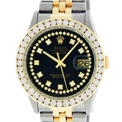 Rolex Mens 2 Tone Black String VS 3 ctw Channel Set Diamond Datejust Wristwatch