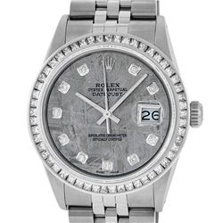 Rolex Mens SS Meteorite Diamond Princess Cut 36MM Datejust Wristwatch