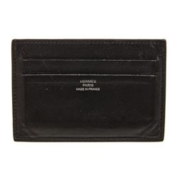 Hermes Black Leather Citizen Twill Card Holder