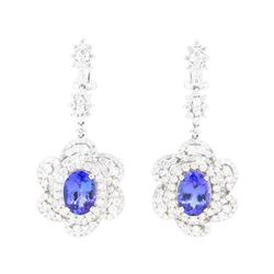 11.90 ctw Tanzanite And Diamond Earrings - 18KT White Gold