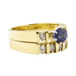 1.37 ctw Blue Sapphire And Diamond Ring And Band - 14KT Yellow Gold