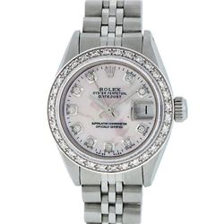 Rolex Ladies Stainless Steel Pink MOP Diamond 26MM Datejust Wristwatch