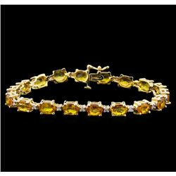 15.57 ctw Yellow Sapphire and Diamond Bracelet - 14KT Yellow Gold