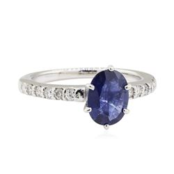 1.25 ctw Sapphire and Diamond Ring - 14KT White Gold
