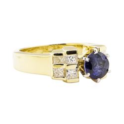 1.87 ctw Blue Sapphire And Diamond Ring - 14KT Yellow Gold
