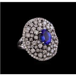 14KT White Gold 2.55 ctw Tanzanite and Diamond Ring