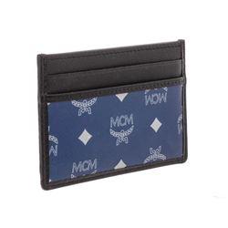 MCM Estate Blue Reflective Nylon Leather Mini Card Case