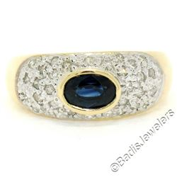 14kt Yellow Gold 0.85 ctw Oval Sapphire and Round Diamond Band Ring