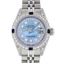 Rolex Ladies Stainless Steel Blue MOP Diamond Lugs & Sapphire Datejust Wristwatc