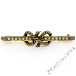 Antique Victorian 15kt Yellow Gold Seed Pearl Knot Bar Pin Brooch