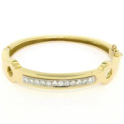18kt Yellow and White Gold 1.01 ctw Diamond Open Bangle Bracelet