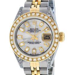 Rolex Ladies 2 Tone 14K MOP Baguette Diamond Lugs Datejust Wristwatch
