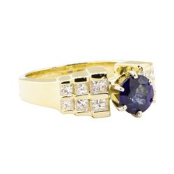 1.80 ctw Blue Sapphire And Diamond Ring - 14KT Yellow Gold