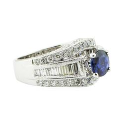 2.49 ctw Round Brilliant Blue Sapphire And Diamond Ring - 14KT White Gold