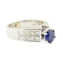 3.15 ctw Round Brilliant Blue Sapphire And Diamond Ring - 14KT White Gold