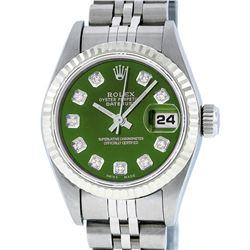 Rolex Ladies Stainless Steel Green Diamond Quickset Datejust Wristwatch
