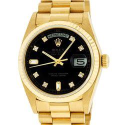 Rolex Mens 18K Yellow Gold Black Diamond Quickset President Wristwatch With Box