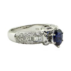 2.45 ctw Oval Mixed Blue Sapphire And Diamond Straight Line Ring - 18KT White Go