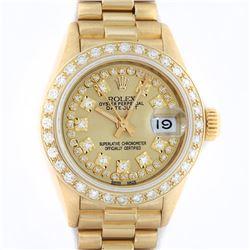 Rolex Ladies 18K Yellow Champagne String Diamond President Wristwatch With Rolex