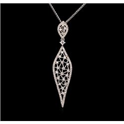 0.86 ctw Diamond Pendant With Chain - 14KT White Gold