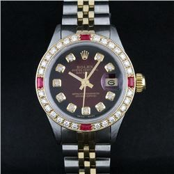 Rolex Ladies 2 Tone 18K Gold Bezel Red Vignette Diamond & Ruby Datejust Wristwat