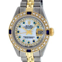 Rolex Ladies 2 Tone 14K MOP Sapphire String Diamond  Datejust Wriswatch