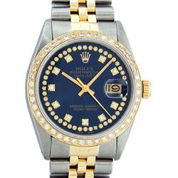 Rolex Mens 2 Tone 14K Blue String VS Diamond Datejust Wristwatch