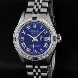 Rolex Ladies Stainless Steel Blue Diamond & Sapphire 18K Gold Bezel Datejust