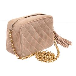 Chanel Beige Quilted Suede Small Tassel Camera Bag