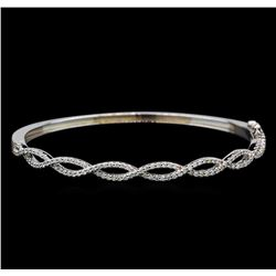 0.94 ctw Diamond Bangle Bracelet - 14KT White Gold