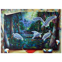 "Ferjo, ""Wading Spot"" Original Painting on Canvas, Hand Signed with Letter of Authenticity."