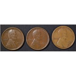 1915-S F, 16-S XF, 17-S XF LINCOLN CENTS