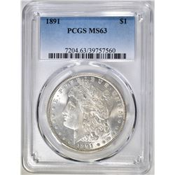 1891 MORGAN DOLLAR PCGS MS-63