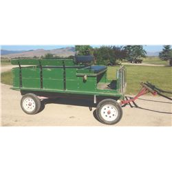 Trailway Style wagon with Pioneer 1-ton running gear, rubber wheels with lights
