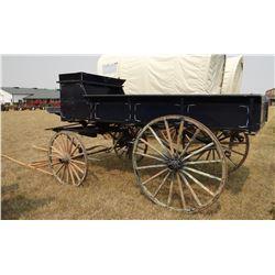 Wagon, single seat, 8' box, wooden wheels, blue