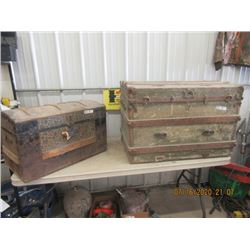 2 Trunks - 1) Round Top - Condition is Poor Vintage