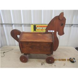 """Wood Ride oN Toy Box Horse 36"""" H 33"""" L"""