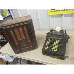 2 Items Victor Radio  & Old Elec Store Calculator - Vintage