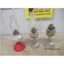 3 Coal Oil Lamps 1) Peanut  1) Hand Painted 1) Red & White- Vintage