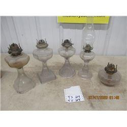5 Coal Oil Lamps - Vintage