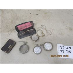 4 Pocket Watches, 3 Vintage ,1 Glass Lady Watch, & Penny Purse