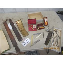 2 Straight Blades, Schick Razor & Case, Valet Razor & Case, Clippers, Scissors, Straps,  Cigarette C