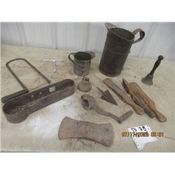 Implement Tool Box, Oil Jugs, 2 Bells, Insulators Double Head Axe, Plus more - Vintage
