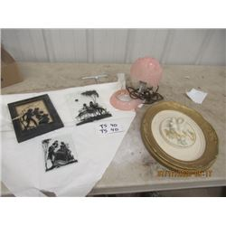 Bedroom Table, 3 Silouette Pics, & Chalkware Picture- Vintage