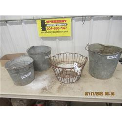 3 Galvanized Pails, & 1 Egg Basket- Vintage