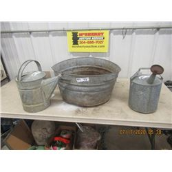 Galvanized Tub & 2 Galvanized Watering Pails Vintage