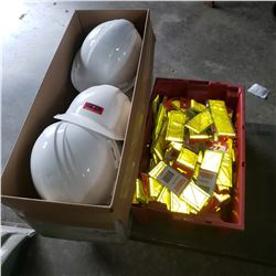 LOT OF HARD HATS AND HI VIS BRACELETS
