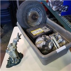 TOTE WITH TIRE AXEL, BATTERY, GMC HUBCAPS, ETC
