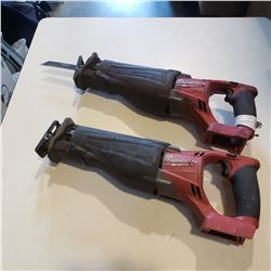 2 MILWAUKEE CORDLESS SAWZALL - NO BATTERY